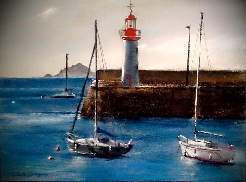 Port d'Erquy – Peinture au pastel sec par l'artiste peintre Isabelle Douzamy – 40×50 cm (encadré)
