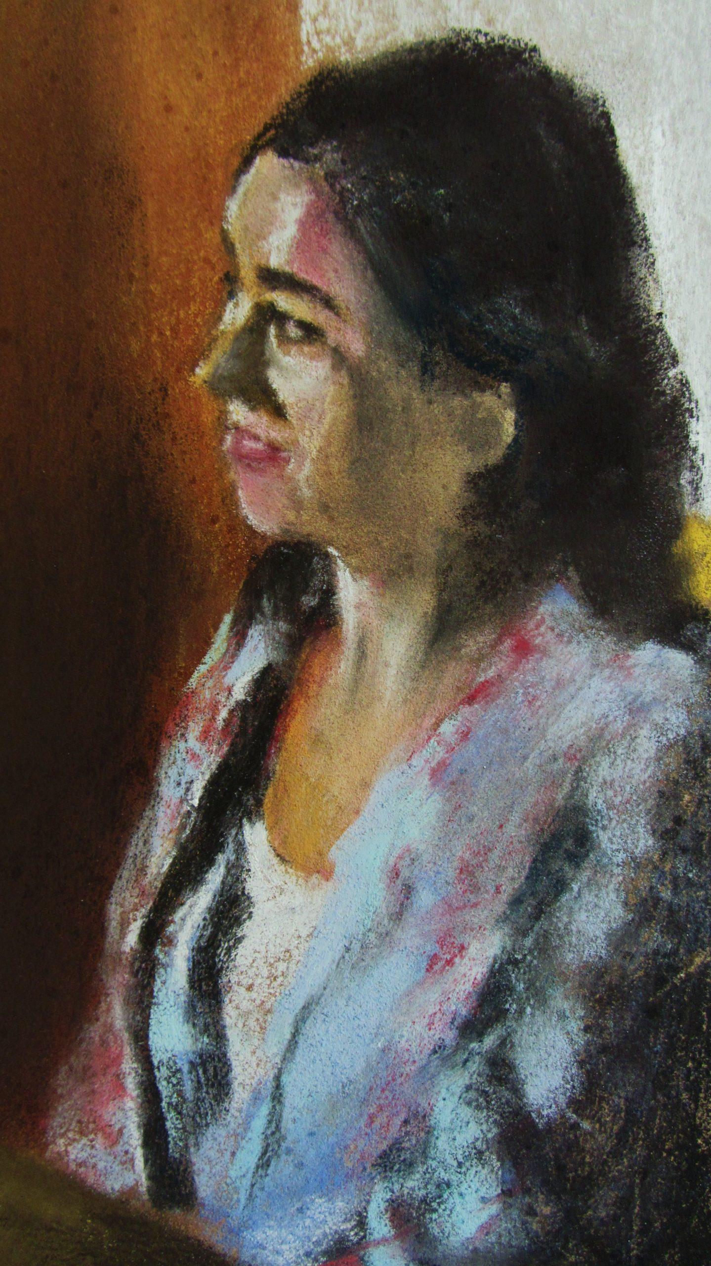 Portrait Brenda - Peinture au pastel sec par l'artiste peintre Isabelle Douzamy