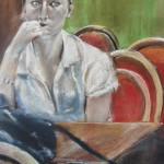 Portrait L'attente - Pastel sec par Isabelle Douzamy - 30x50 cm - 600€