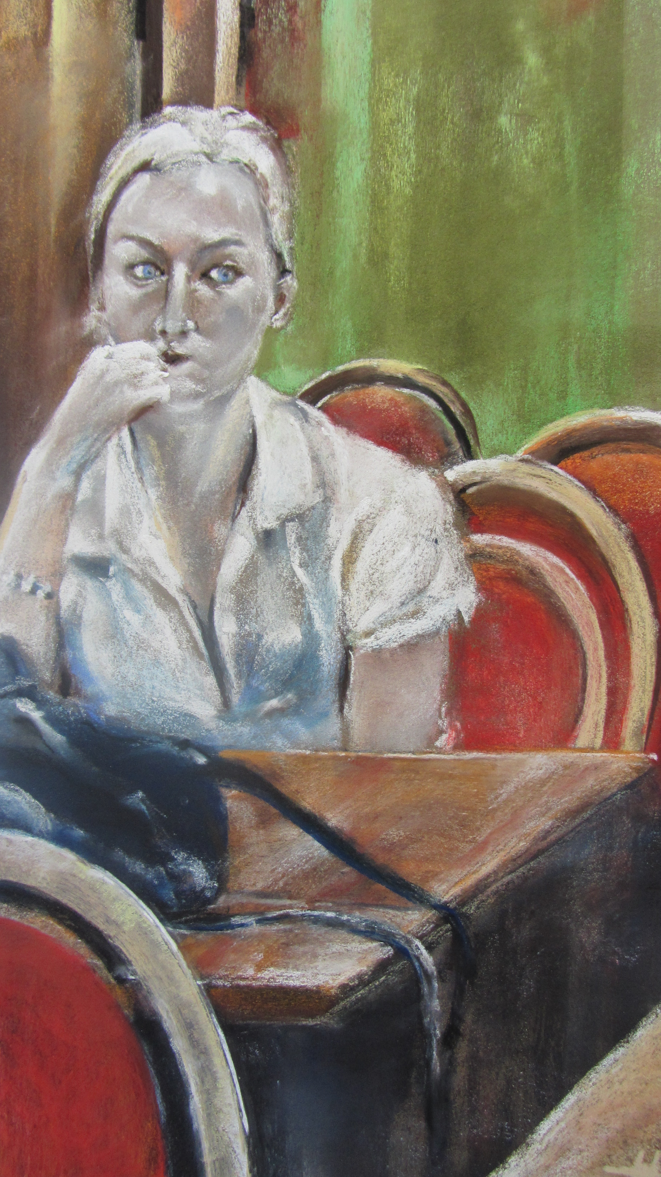 Portrait L'attente - Pastel sec par Isabelle Douzamy - 30x50 cm