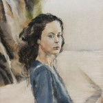 Portrait jeune fille sur la promenade du port plage des Mielles à Saint-Cast - Peinture au pastel sec - 30x40 cm