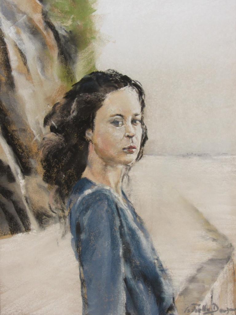 Portrait jeune fille sur la promenade du port plage des Mielles à Saint-Cast - Peinture au pastel sec - 30x40 cm - 500€