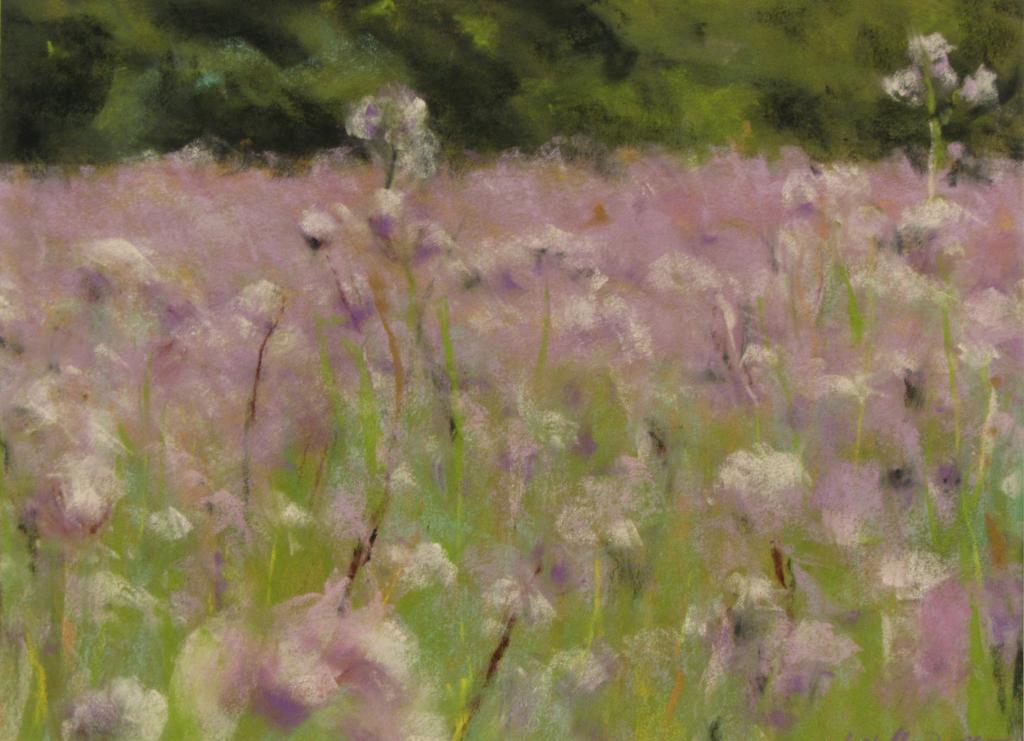 Prairie fleurie - peinture au pastel sec par Isabelle Douzamy - 30x40cm - Collection privée