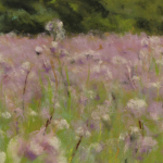 Prairie fleurie - peinture au pastel sec par Isabelle Douzamy - 30x40cm