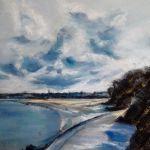Promenade du port à Saint-Cast - Peinture au pastel sec par l'artiste peintre Isabelle Douzamy - 40x50 cm (encadré)
