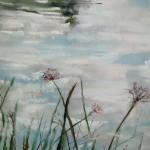 Reflets à l'étang de Beaulieu - Peinture au pastel sec par l'artiste peintre Isabelle Douzamy - 40x50cm