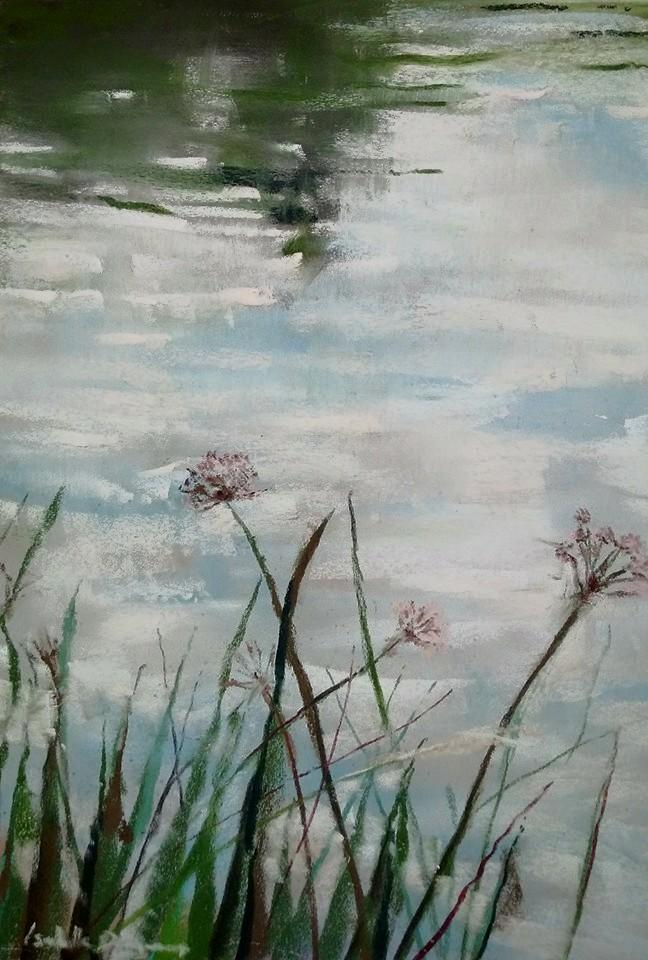 Reflets à l'étang de Beaulieu - Peinture au pastel sec par l'artiste peintre Isabelle Douzamy - 40x50 cm - 400€