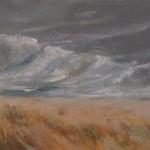 Rivage - Peinture au pastel sec par Isabelle Douzamy - 17x42cm