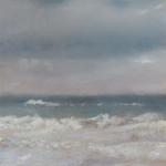 Rivage et ganivelles - Peinture au pastel sec par l'artiste peintre Isabelle Douzamy - 30x57 cm