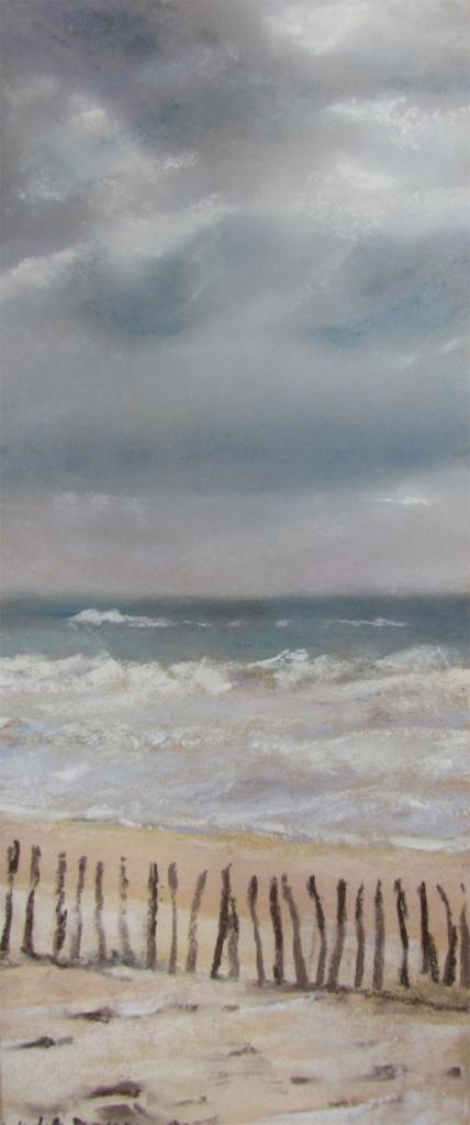 Rivage et ganivelles - Peinture au pastel sec par l'artiste peintre Isabelle Douzamy - 30x57 cm - 300€