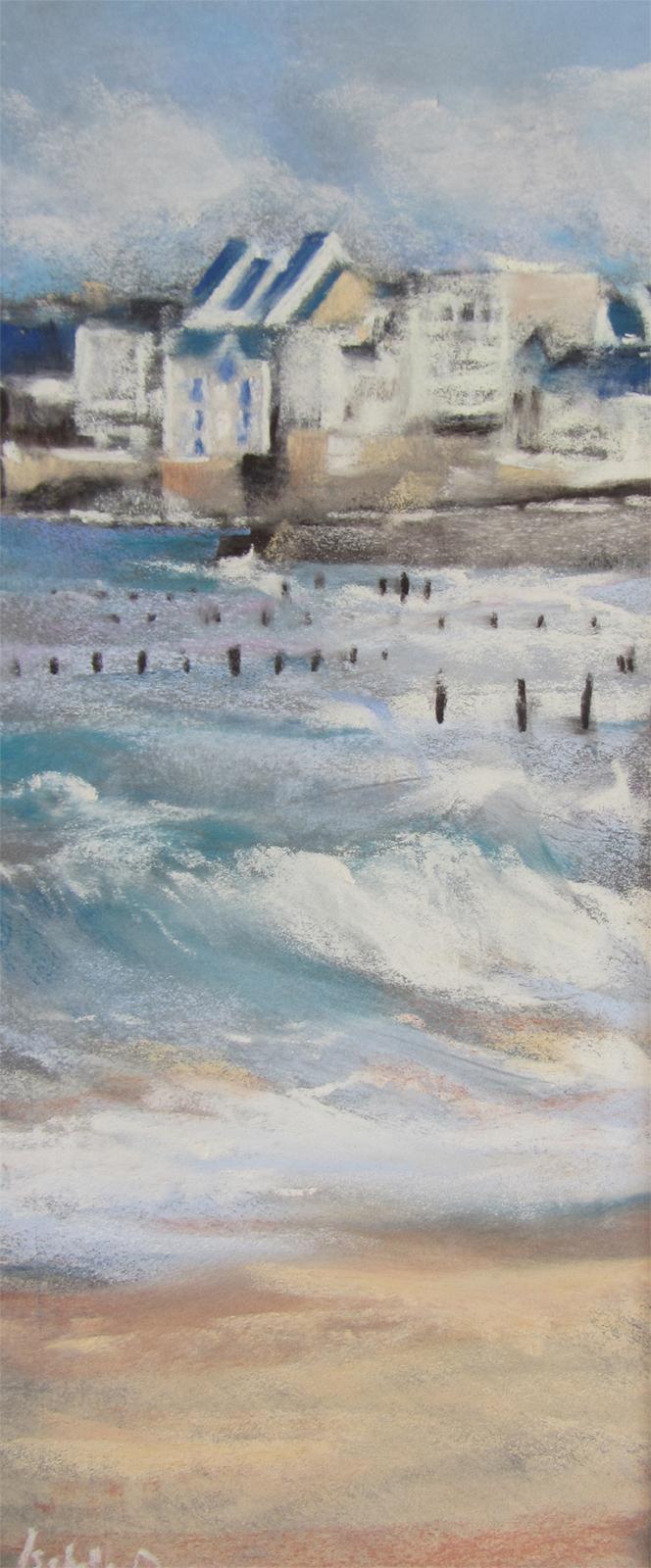 Saint-Malo Rochebonne - Peinture au pastel sec par l'artiste peintre Isabelle Douzamy - 30x57cm encadré