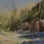 Rondins - Peinture au pastel sec par l'artiste peintre Isabelle Douzamy - 30x57cm (encadré)