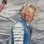 Route du Rhum 2018 - Georges Guinguen skipper de l'association Nouvelle Vague 2018 - Peinture au pastel sec par Isabelle Douzamy - 40x55cm - 550€