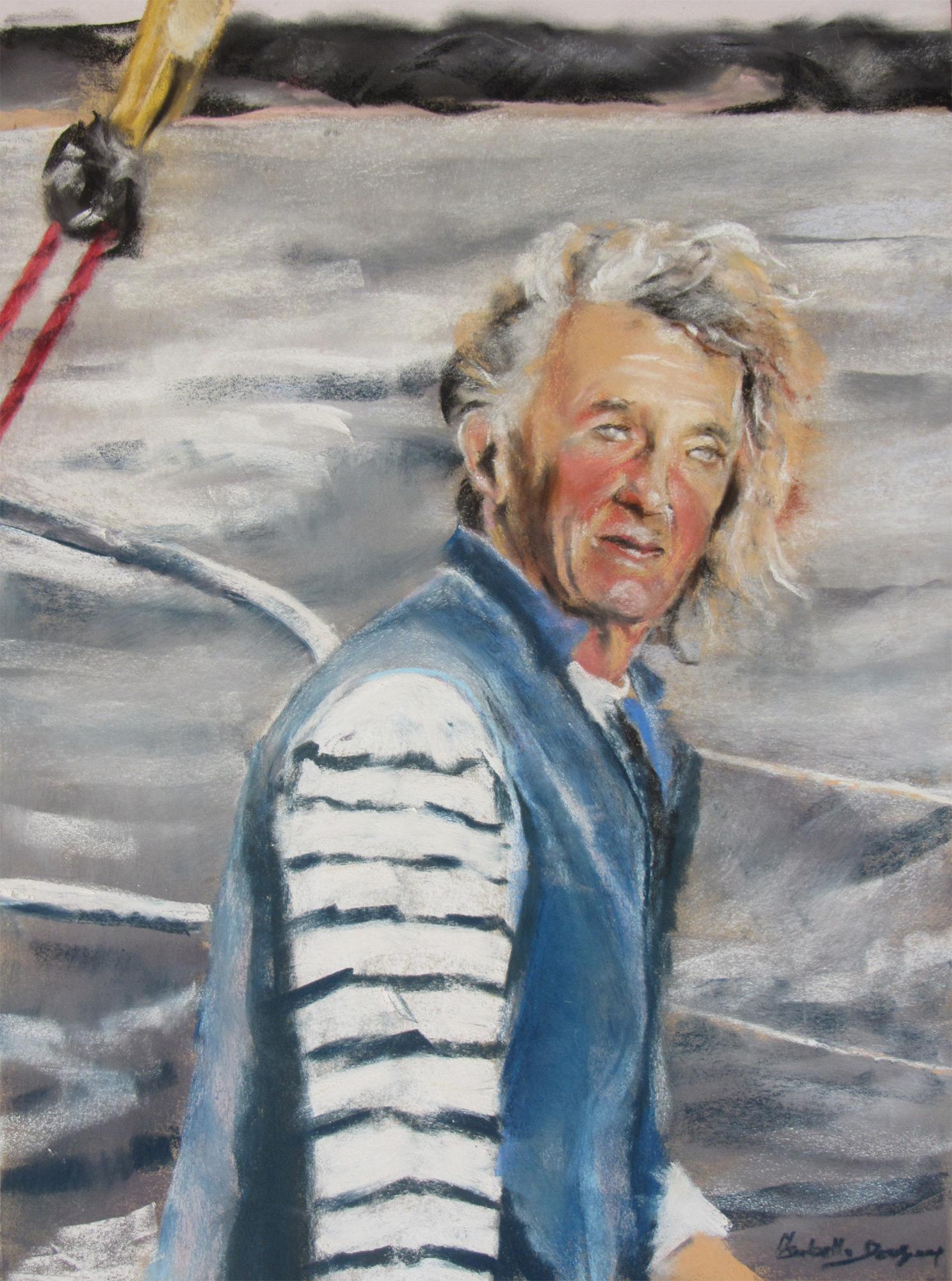 Route du Rhum 2018 - Georges Guinguen skipper de l'association Nouvelle Vague 2018 - Peinture au pastel sec par Isabelle Douzamy - 40x55cm