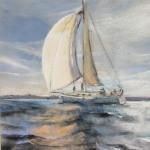 Route du Rhum 2018 - Georges Guingen skipper de l'association Nouvelle Vague 2018 - Le Jumbo 40 - Peinture au pastel sec par Isabelle Douzamy - 30x40cm - 400€
