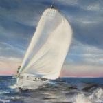 Route du Rhum 2018 - Georges Guingen skipper du Jumbo 40 de l'association Nouvelle Vague 2018 - Peinture au pastel sec par Isabelle Douzamy - 30x40cm - 400€