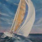 Route du Rhum - Nouvelle Vague 2018 - Terre Exotique - Peinture au pastel sec par Isabelle Douzamy - 30x40cm - 400€