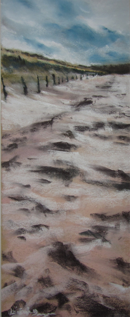 Sables d'Or-les-Pins - Peinture au pastel sec par l'artiste peintre Isabelle Douzamy - 17,5x42,5cm - 300€