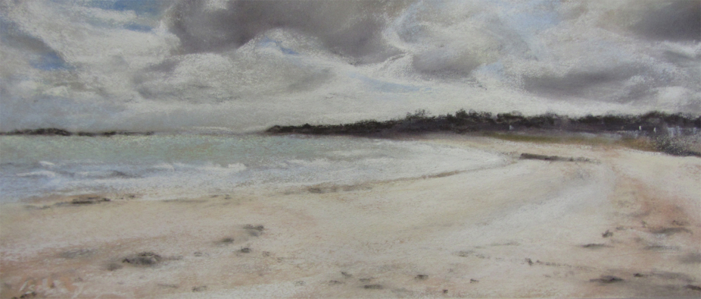 Saint-Cast La Grande Plage - Peinture au pastel sec par l'artiste peintre Isabelle Douzamy - 17 x 42 cm - 300€