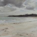 Saint-Cast La Grande Plage - Peinture au pastel sec par l'artiste peintre Isabelle Douzamy - 17x42 cm