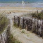 Saint-Cast La Plage - Peinture au pastel sec par Isabelle Douzamy - 40x50cm