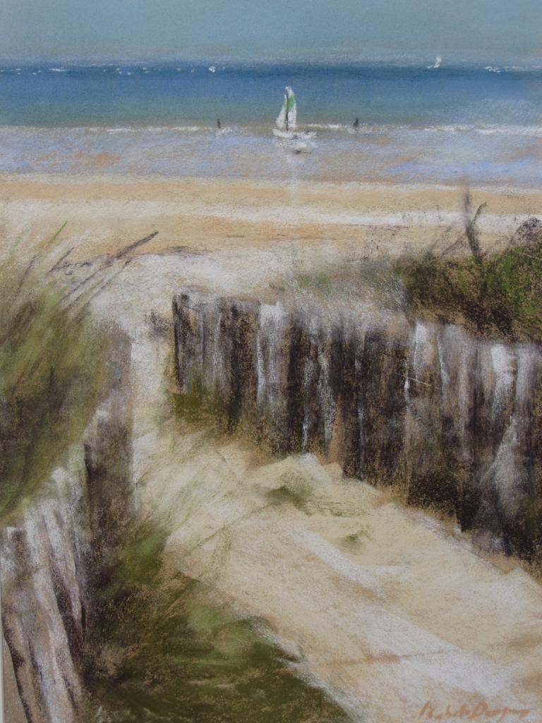 Saint-Cast La Plage - Peinture au pastel sec par Isabelle Douzamy - 40x50cm - Collection privée