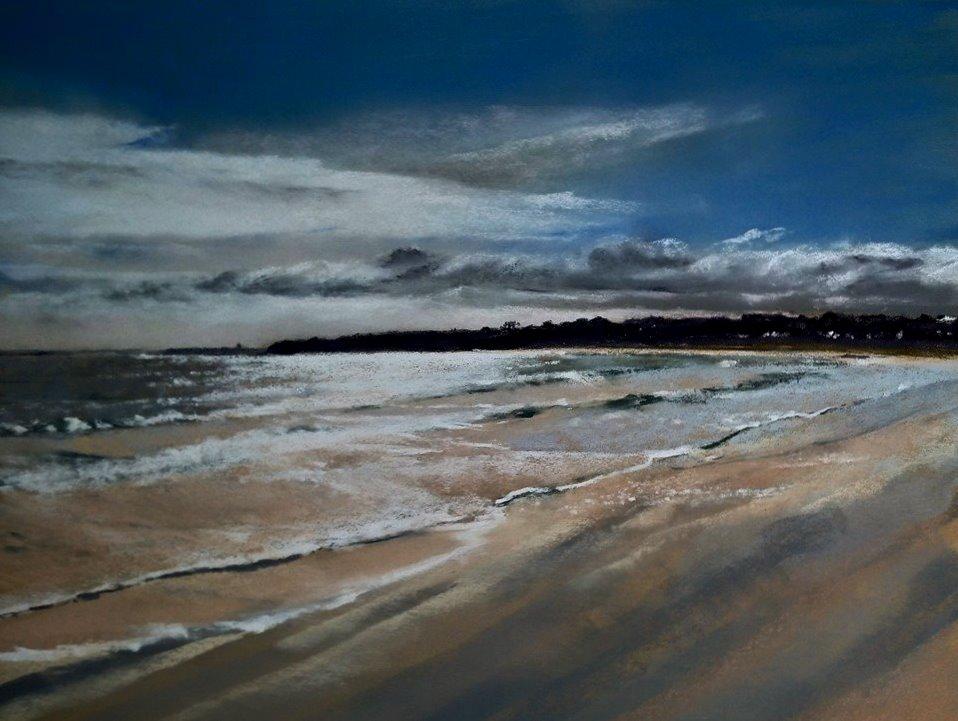 Scintillement sur la grande plage de Saint-Cast-Le-Guildo - Peinture au pastel sec par l'artiste peintre Isabelle Douzamy – 65×81.5 cm (encadré)