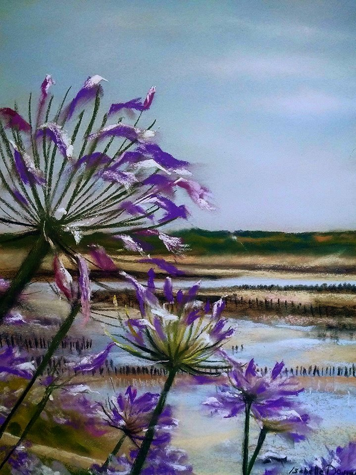 Sérénité dans la baie – Peinture au pastel sec par l'artiste peintre Isabelle Douzamy – 40×50 cm (encadré)