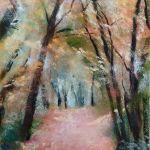 Sous-bois dans la vallée de Diane - Sables d'Or-Les-Pins - Peinture au pastel sec par l'artiste peintre Isabelle Douzamy - 30x57cm