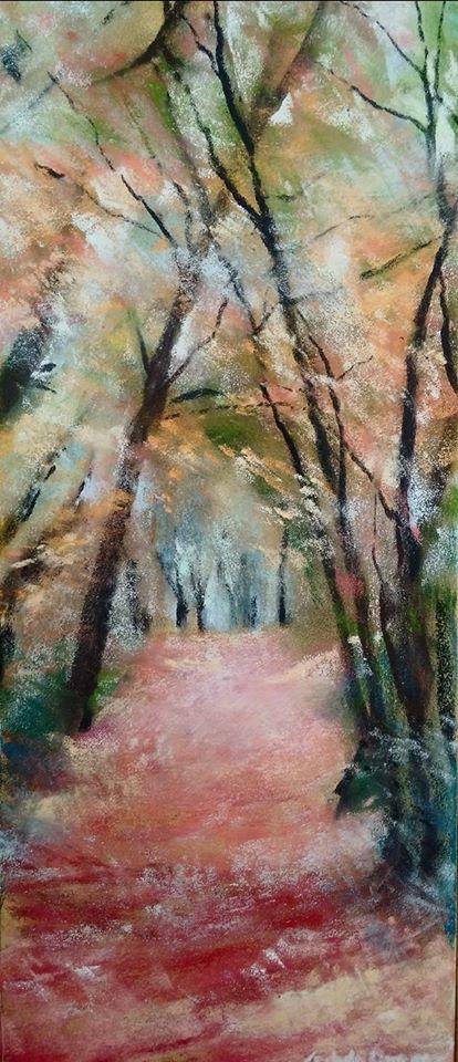 Sous-bois dans la vallée de Diane - Sables d'Or-Les-Pins - Peinture au pastel sec par l'artiste peintre Isabelle Douzamy - 30x57cm - 300€