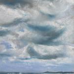 Saint-Cast grande plage - Vue sur les Ébihens - Peinture au pastel sec par l'artiste peintre Isabelle Douzamy - 30x57cm