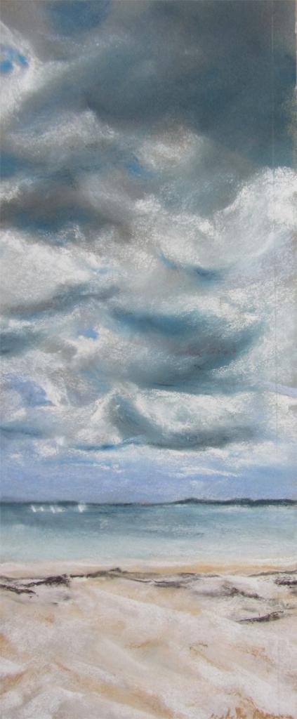 Saint-Cast grande plage - Vue sur les Ébihens - Peinture au pastel sec par l'artiste peintre Isabelle Douzamy - 30x57cm - 300€