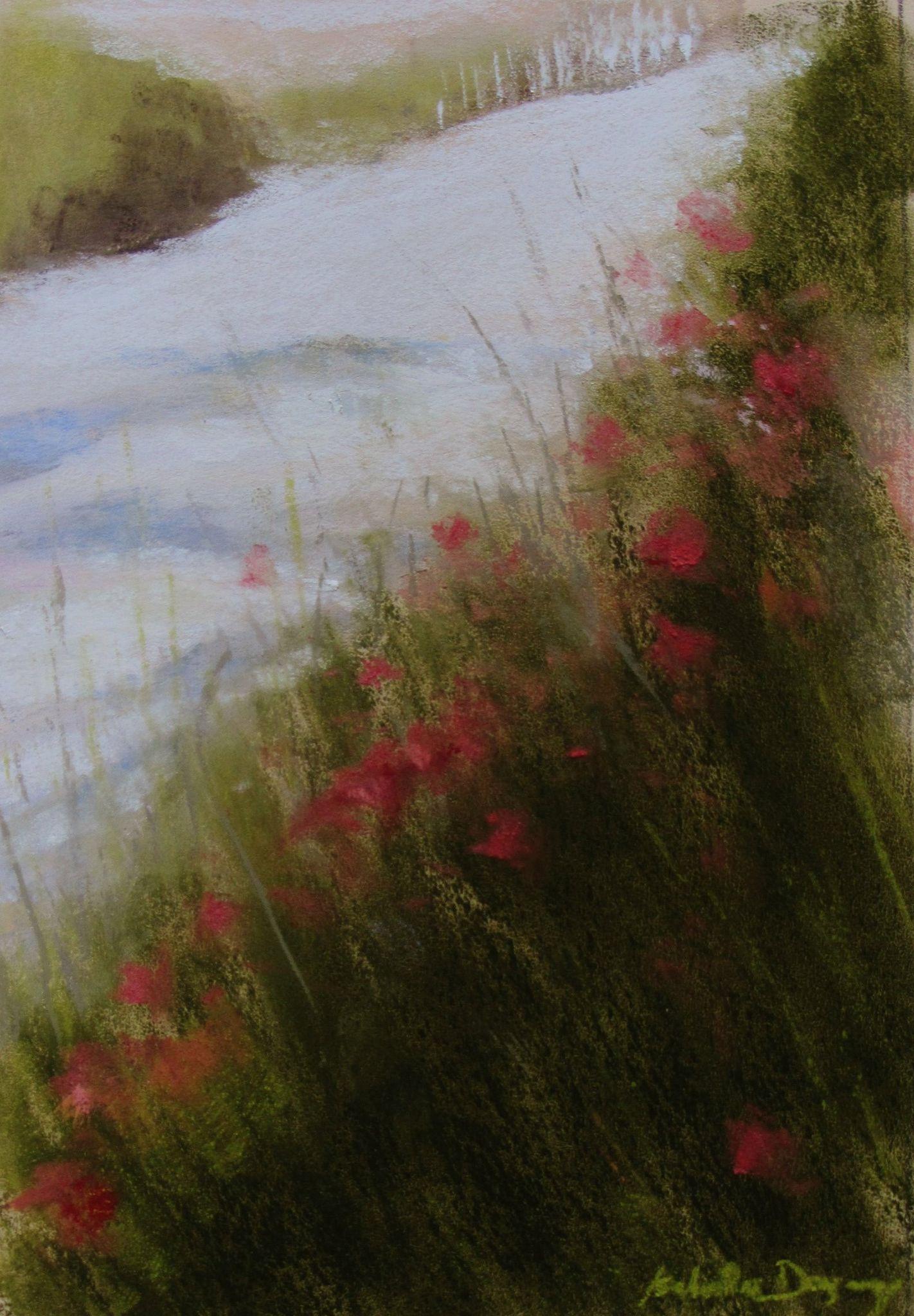 Sur le chemin aux coquelicots à Saint-Jacut-de-la-mer - Peinture au pastel sec par l'artiste peintre Isabelle Douzamy - 39x50 cm (encadré)