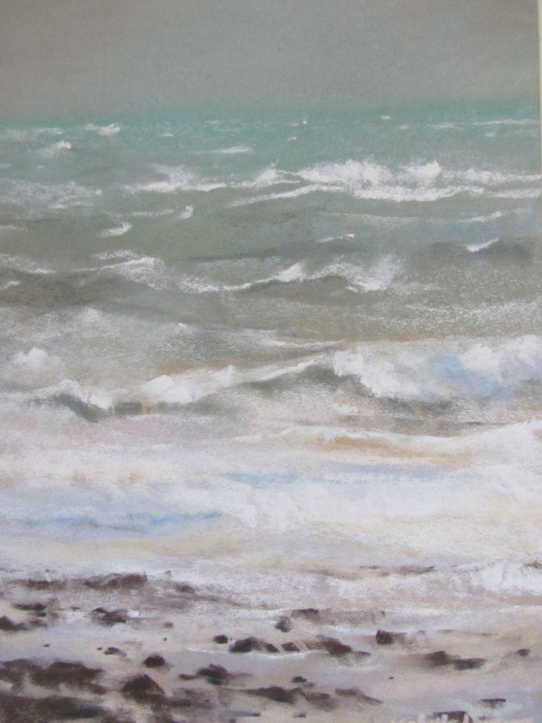 Tempête plage du Vieux-Bourg - Pastel sec par Isabelle Douzamy - 30x40cm - 500€
