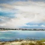 Vue de la pointe de la Garde sur la grande plage de St-Cast - Peinture au pastel sec par l'artiste peintre Isabelle Douzamy - Format panoramique 40x102 cm (encadré)