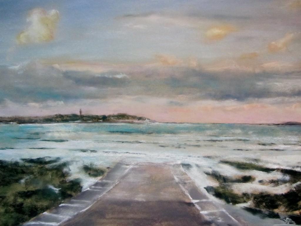 Vue sur Saint-Jacut - Pastel sec par Isabelle Douzamy - 39x49 cm - 600€