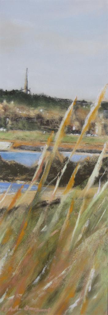 Vue sur Saint-Jacut-de-la-Mer - Peinture au pastel sec par l'artiste peintre Isabelle Douzamy - 63x32 cm encadré - 390€