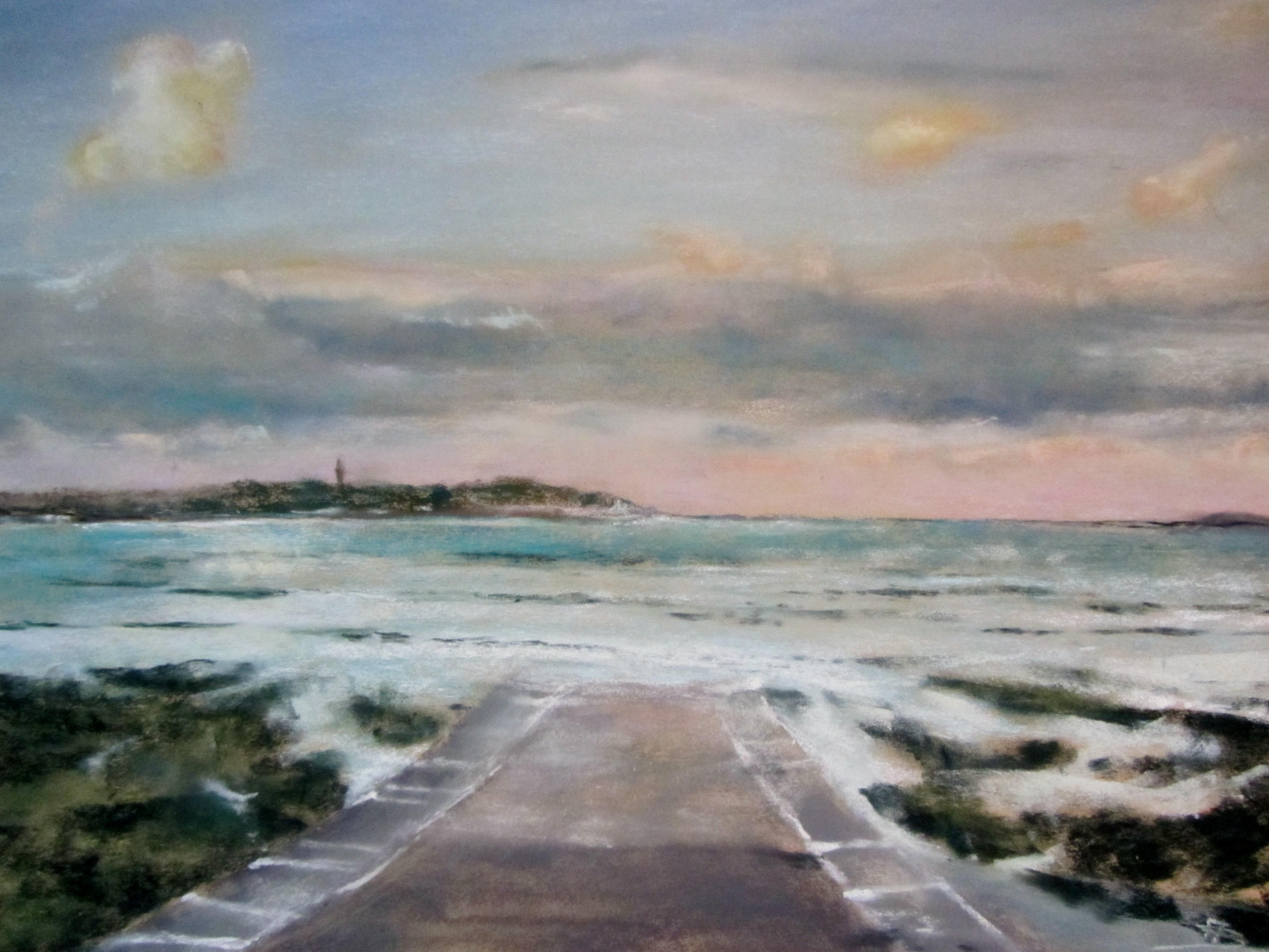 Vue sur Saint-Jacut - Pastel sec par Isabelle Douzamy - 39x49 cm