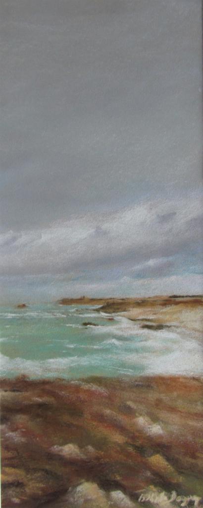 Vue sur le Cap Fréhel - Peinture au pastel sec par Isabelle Douzamy  - 17x42cm - 350€