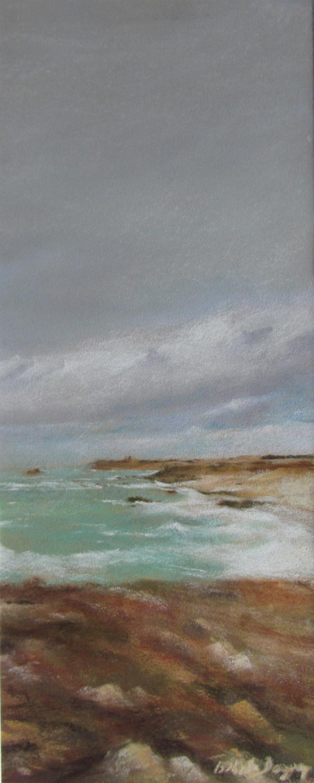Vue sur le Cap Fréhel - Peinture au pastel sec par Isabelle Douzamy - 17x42cm