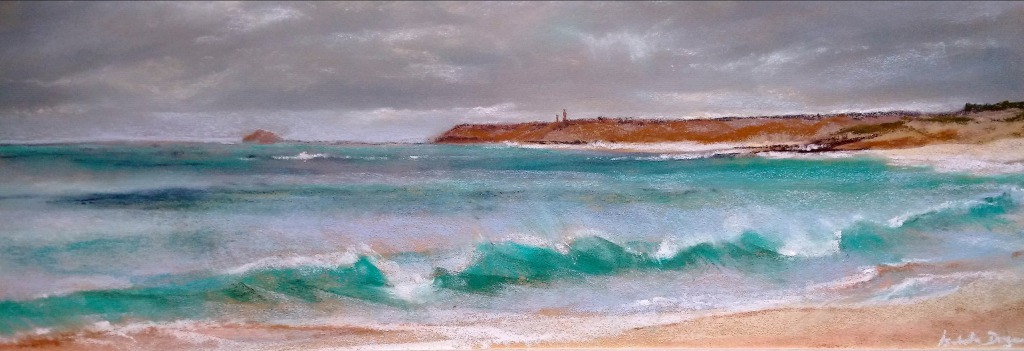 Vue sur le Cap Fréhel - Peinture panoramique au pastel sec par l'artiste peintre Isabelle Douzamy - 36x84 cm (encadré)