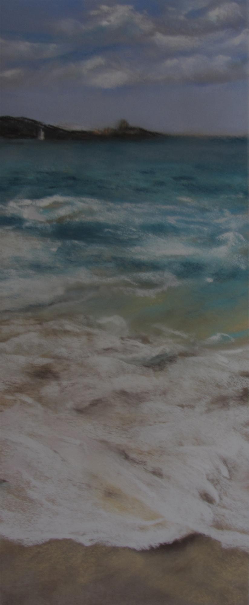 Vue sur le Fort la Latte - Peinture au pastel sec par l'artiste peintre Isabelle Douzamy - 30x57 cm encadré - 300€